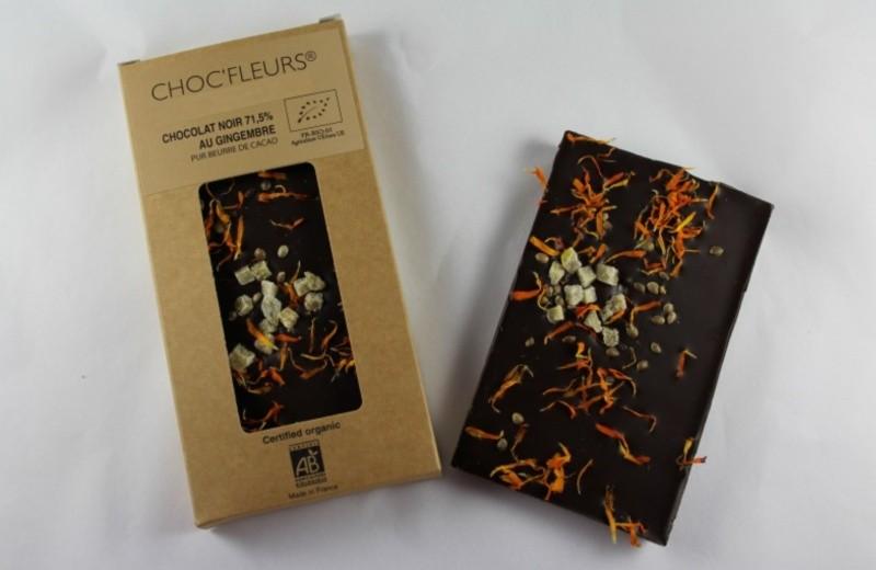 Tablette de chocolat noir 71.5% au gingembre