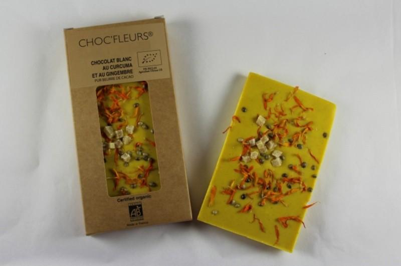 Tablette de chocolat blanc au curcuma et au gingembre