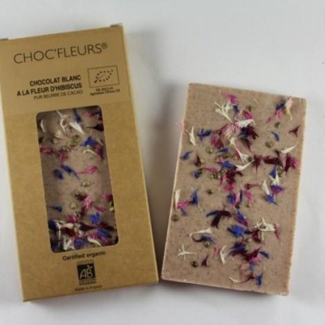Tablette de chocolat blanc a la fleur d'hibiscus