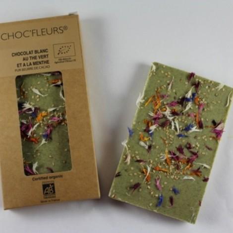 Tablette de chocolat blanc au the vert et a la menthe