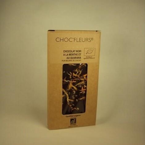 Tablette de chocolat noir a la menthe et au guarana