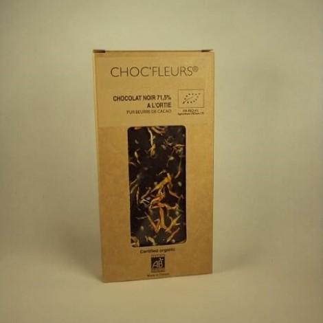 Tablette de chocolat noir 71.5% a l'ortie