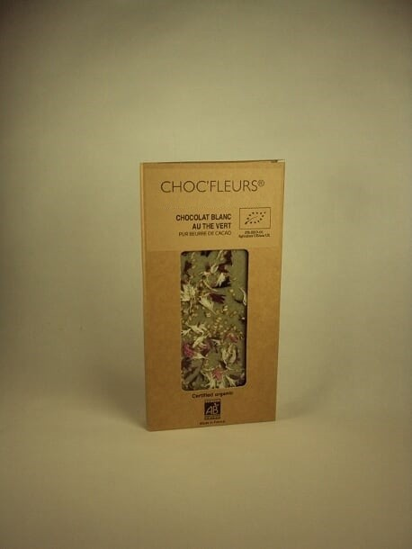 Tablette de chocolat blanc au the vert