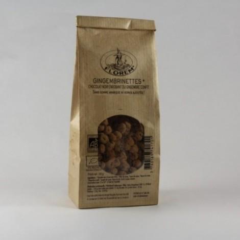 Les gingembrinettes chocolat noir enrobant du gingembre confit